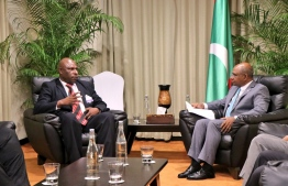 Minister of Foreign Affairs Abdulla Shahid meets Papua New Guinea's Vice Minister for Foreign Affairs and International Trade Sekie Agisa. PHOTO: FOREIGN MINISTRY