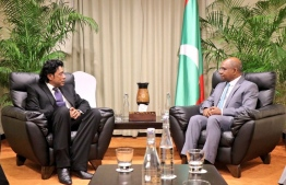 Minister of Foreign Affairsy Abdulla Shahid meets with the Minister of Foreign Affairs, Regional Integration and International Trade of Mauritius Nandcoomar Bodha. PHOTO: FOREIGN MINISTRY