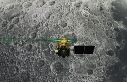 This screen grab taken from a live webcast by Indian Space Research Organisation (ISRO) on August 6, 2019 shows Vikram Lander before it is supposed to land on the Moon. - Chandrayaan-2 space exploration mission consisting of a lunar orbiter, a lander named 'Vikram', and a lunar rover named 'Pragyan', all of which were developed in India, was launched from Satish Dhawan Space Centre in Sriharikota on 22 July 2019 by the Geosynchronous Satellite Launch Vehicle (GSLV) Mark III. (Photo by Handout / Indian Space Research Organisation (ISRO) / AFP) /