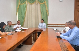 Vice President Faisal Naseem discusses safety during sea transportation with officials of Transport Ministry, MNDF and Coast Guard. PHOTO/PRESIDENT'S OFFICE