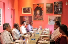 Minister of Foreign Affairs Abdulla Shahid hosts lunch for Sri Lankan Ambassador to Maldives Retired Major General A.B. Thoradeniya. PHOTO: MINISTRY OF FOREIGN AFFAIRS