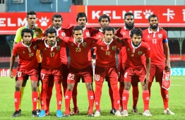 The starting 11 players of Maldives national football team. PHOTO: HUSSAIN WAHEED/MIHAARU