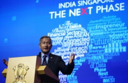 Singapore Foreign Minister speaking at India-Singapore: The Next Phase business and innovation summit. PHOTO: THE STRAITS TIMES