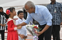President Ibrahim Mohamed Solih visits R. Meedhoo on September 11, 2019. PHOTO/PRESIDENT'S OFFICE