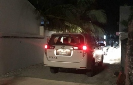 A police vehicle operating on the island of Thinadhoo, Gaafu Dhaalu Atoll. PHOTO: MIHAARU FILES