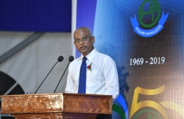 President Ibrahim Mohamed Solih attends the ceremony held to commemorate the Golden Jubilee of Alifushi School. PHOTO: PRESIDENT'S OFFICE