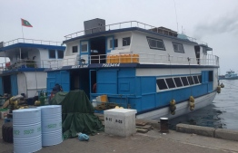 The boat aboard which a gas explosion occurred, injuring seven people. PHOTO: MIHAARU