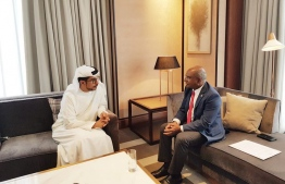 Expressing gratitude for United Arab Emirates (UAE)'s continued assistance to Maldives' development,  Minister of Foreign Affairs Abdulla Shahid discussed new development projects with Director General of Abu Dhabi Fund for Development (ADFD) Mohamed Saif Al Suwaidi. PHOTO: MINISTRY OF FOREIGN AFFAIRS
