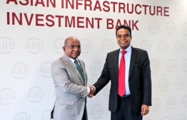 Minister of Foreign Affairs Abdulla Shahid (L) and Asian Infrastructure Investment Bank (AIIB)'s Vice President D. Jagatheesa Pandian. PHOTO: MINISTRY OF FOREIGN AFFAIRS