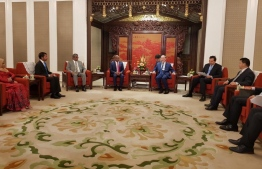 Minister of Foreign Affairs Abdulla Shahid and Chinese Vice President Wang Qishan meeting at the Ziguang Pavilion, Beijing. PHOTO: MINISTRY OF FOREIGN AFFAIRS