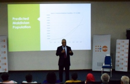 Professor Lakshman Dissanayake delivering his lecture at the event arranged by United Nations Population Fund (UNFPA)