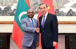 Minister of Foreign Affairs Abdulla Shahid represented Maldives in signing three Memorandum of Understandings with State Chancellor and Minister of Foreign Affairs of China Wang Yi, who signed on behalf of China. PHOTO: FOREIGN MINISTRY
