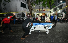 ADK Hospital provided gurneys to be utilised during the evacuation procedures as security forces attempt to control the fire. PHOTO: HUSSAIN WAHEED / MIHAARU