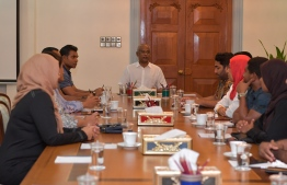 President Ibrahim Mohamed Solih presiding over an emergency session of the Cabinet following the tragic fire incident. The emergency Cabinet session was held at Mulee'aage, the Official Residence of the President, late Friday night. PHOTO: PRESIDENT'S OFFICE