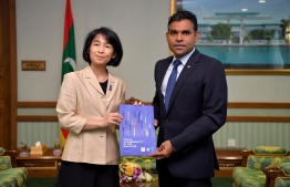 United Nations Development Programme's Resident Representative to Maldives, Akiko Fujii, paid a courtesy call on Vice President Faisal Naseem. PHOTO: PRESIDENT'S OFFICE