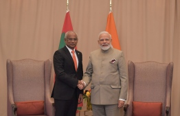 President Ibrahim Mohamed Solih (L) meets Indian Prime Minister Narendra Modi at the United Nations General Assembly on September 24, 2019. PHOTO/PRESIDENT'S OFFICE