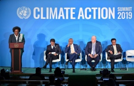 President Ibrahim Mohamed Solih has presents the Maldivian 'Climate Smart Resilient Islands Initiative' at the UN Climate Action Summit. PHOTO: PRESIDENT'S OFFICE