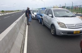 The three cars damaged during Tuesday's accident. PHOTO: MIHAARU