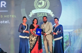 Airport Beach Hotel, owned and operated by the Hawks Pvt Ltd, wins the award for leading business hotel in Maldives. PHOTO: HAWKS PVT LTD
