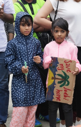 Two young girls at the Climate Strike held on Friday at Hulhumale' PHOTO: HAWWA AMAANY/ THE EDITION