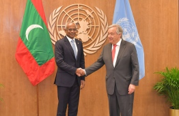 President Ibrahim Mohamed Solih (L) meets with UN Secretary-General António Guterres, at the sidelines of the 74th United Nations General Assembly (UNGA). PHOTO/PRESIDENT'S OFFICE