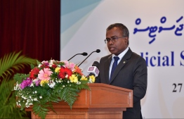 Chief Justice Dr Ahmed Abdulla Didi speaks at the judicial symposium on family justice. PHOTO: MIHAARU