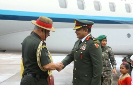 Chief of Defence Force Major General Abdulla Shamaal receives Indian Chief of the Army Staff (COAS) General Bipin Rawat at VIA. PHOTO/MNDF