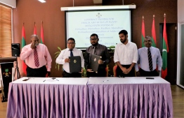 The signing ceremony of flood Mitigation Design and EIA Contract Signing between the ministry of environment and Epoch Associates. PHOTO: ENVIRONMENT MINISTRY
