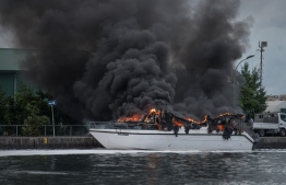 The speedboat which burned in the fire incident that took place at T Jetty in capital Male'. PHOTO: NISHAN ALI/ MIHAARU