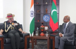 Minister of Foreign Affairs Abdulla Shahid and Indian Chief of the Army Staff (COAS) General Bipin Rawat. PHOTO: MINISTRY OF FOREIGN AFFAIRS