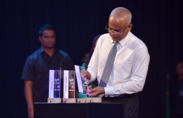 President Solih at the launching ceremony of the administrations Strategic Action Plan (SAP) for the next five years. PHOTO: NISHAN ALI / MIHAARU