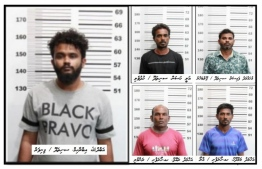 The five suspects arrested over possession of six kilograms of narcotics. Criminal Court released three of them on Monday. PHOTO: MIHAARU FILES
