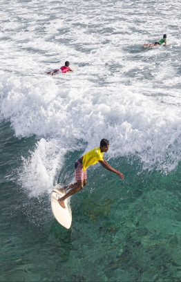 Surfers at the 3rd Soneva Surf Pro Competition, hosted in Baa Atoll this year. PHOTO: HAWWA AMAANY ABDULLA / THE EDITION