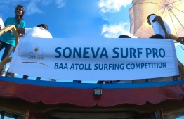 Soneva team and surfers at the 3rd Soneva Surf Pro Competition, hosted in Baa Atoll this year. PHOTO: HAWWA AMAANY ABDULLA / THE EDITION