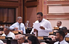 Nolhivarum member, MP Ahmed Nasheed Abdulla filed an emergency motion at the parliament over MDN's report. PHOTO: PARLIAMENT
