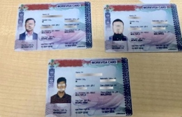 Some of the forged visas seized by Maldives Immigration. PHOTO: IMMIGRATION