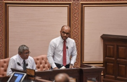 Minister of Finance Ibrahim Ameer speaking at Tuesday's parliament session. PHOTO: PARLIAMENT