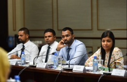 An ongoing meting of the Parliamentary Committee on Independent Institutions. PHOTO: HUSSAIN WAHEED/ MIHAARU