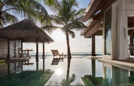 Ocean pool house deck in Naladhu Private Island. PHOTO/ANANTARA
