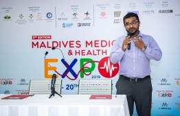 Director of PR at MV Medicals Abdul Jameel speaking about Maldives Medical Expo. PHOTO: MV MEDICALS
