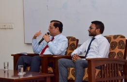 Ministry of Health's State Minister Dr Shah Abdulla Mahir and WHO Representative to Maldives Dr Arvind Mathur at the awareness session. PHOTO: MINISTRY OF HEALTH