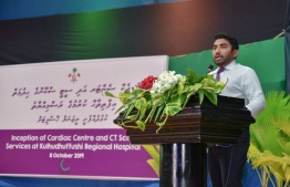 Minister of Health Abdulla Ameen delivering a speech at the ceremony held to inaugurate CT scan services and the Cardiac Centre at Kulhudhuffushi Regional Hospital. PHOTO: HEALTH MINISTRY