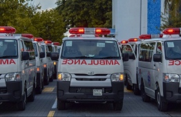 The ambulances distributed to health service providers in 26 islands. PHOTO: HEALTH MINISTRY