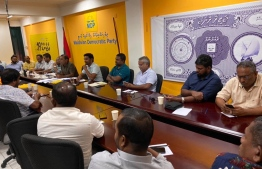 Discussions held between members of Maldivian Democratic Party (MDP) prior to releasing the statement condemning attacks on Islam. PHOTO: MDP