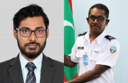Fathuhulla Jameel (L), former Director General of MIRA, and Ismail Nashid, Assistant Commissioner at Customs. IMAGE/MIHAARU