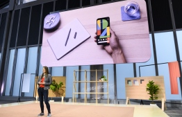 Sabrina Ellis, Google vice president of product management speaks about the new Google Pixel 4 phone during a Google product launch event called Made by Google 19 in New York City on October 15, 2019. - Google unveiled its newest Pixel handsets, aiming to boost its smartphone market share with features including gesture recognition that lets users simply wave their hands to get things done. (Photo by Johannes EISELE / AFP)