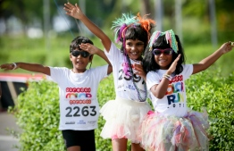 Children participate in the annual Ooredoo Color Run. PHOTO/OOREDOO MALDIVES