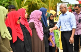 President Ibrahim Mohamed Solih arriving at Hulhudheli, Dhaalu Atoll. Speaking to the islanders, he noted that decentralization is key to the meaningful progress sought by the island community. PHOTO: PRESIDENT'S OFFICE