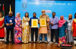 President Ashraf Ali (C-L) of the Academy of Dhivehi Language, was awarded the Literary Award in New Dehli, India. PHOTO: DHIVEHI BAHUGE EKEDAMEE / DHIVEHI LANGUAGE ACADEMY