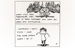 Comic of the Day - 'When owls feel threatened'. ILLUSTRATION/NUHA NASHEED